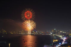 Beautiful big fireworks at night, closeup with pattaya cityscape Stock Photo