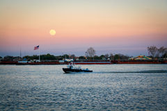 Beautiful and big moon, Mississippi River in New Orleans, Louisi Stock Images
