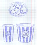 Beautiful big and small striped carton popcorn box Stock Photos