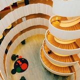 Beautiful and big stairway in wood in a building Royalty Free Stock Images