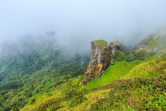 Beautiful big stone andmountain and fog at Doi inthanon in Chiangmai province,Thailand. Beautiful mountain and fog at Doi inthanon in Chiangmai province,Thailand Stock Photography