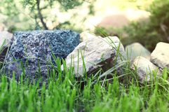 Beautiful big stones close-up that lie in the garden on a green lawn royalty free stock photo