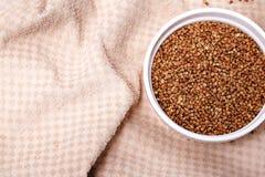 Beautiful big tasty organic natural roasted buckwheat groats stock images