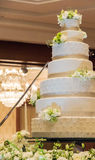 Beautiful Big White Wedding Cake for Wedding Day, Indoor Shot Stock Images