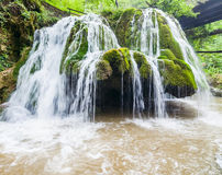 Beautiful Bigar waterfall. Bigar waterfall located at the intersection with the parallel 45 , Romania royalty free stock image