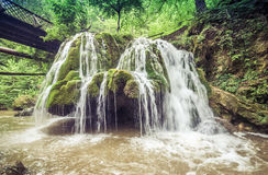 Beautiful Bigar waterfall. Bigar waterfall located at the intersection with the parallel 45 , Romania stock images