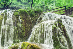 Beautiful Bigar waterfall. Bigar waterfall located at the intersection with the parallel 45 , Romania royalty free stock photos