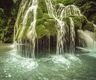 Beautiful Bigar waterfall. Bigar waterfall located at the intersection with the parallel 45 , Romania royalty free stock photography