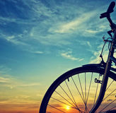 Beautiful bike silhouette, sunset, Vietnam countryside Stock Image
