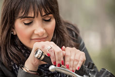 Beautiful biker woman Royalty Free Stock Image