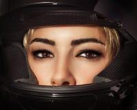 Beautiful biker woman royalty free stock photography