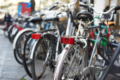 Beautiful bikes on streets of city Stock Photography