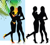 Beautiful bikini girls silhouette Royalty Free Stock Photos
