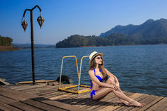 The beautiful bikini model on the Lake Royalty Free Stock Photos