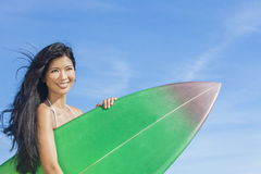 Beautiful Bikini Woman Girl Surfer & Surfboard Beach Royalty Free Stock Image