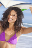 Beautiful Bikini Woman Girl Surfer & Surfboard Beach Royalty Free Stock Photo