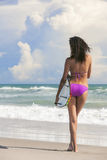 Beautiful Bikini Woman Girl Surfer & Surfboard Beach Stock Image