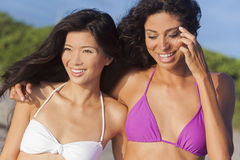 Beautiful Bikini Women At Beach Asian & Hispanic Royalty Free Stock Image