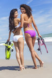 Beautiful Bikini Women Girls At Beach Stock Photos