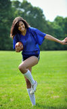 Beautiful biracial female soccer player Stock Image