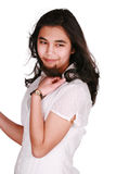 Beautiful biracial teen girl in casual pose, looking over should Stock Photos