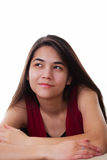 Beautiful biracial teen girl looing up with happy expres Royalty Free Stock Photos