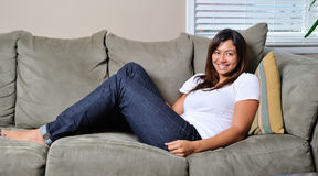 Beautiful biracial woman relaxing Royalty Free Stock Image