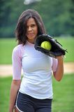 Beautiful biracial young female softball player Royalty Free Stock Photo
