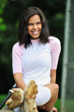Beautiful biracial young female softball player Royalty Free Stock Photos