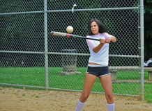 Beautiful biracial young female softball player Stock Image