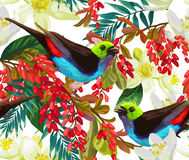 Beautiful bird, red berries and white flowers Stock Images