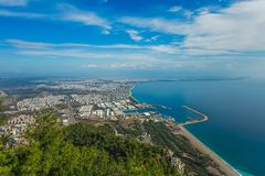 Beautiful bird view at Antalya city in Turkey and amazing blue sky and sea water. Horizontal color photography royalty free stock photography