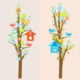 Beautiful birds and birdhouses on trees Stock Photo