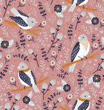 Beautiful birds and flower berries pattern. Beautiful birds and flower berries vector seamless pattern Stock Photos