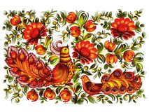 Beautiful birds. Hand drawn, , illustration in Ukrainian folk style Stock Images