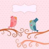 Beautiful birds in love.Illustration of cartoon birds on branch, Stock Photo
