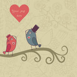 Beautiful birds in love.Illustration of cartoon birds on branch, Royalty Free Stock Photo