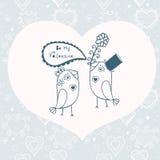 Beautiful birds in love.Illustration of cartoon birds on branch, Stock Photos