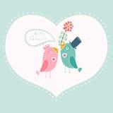 Beautiful birds in love.Illustration of cartoon birds on branch, Royalty Free Stock Photos