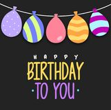 BEAUTIFUL BIRTHDAY BACKGROUND WITH BALLOONS Stock Photo