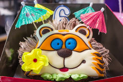 Beautiful birthday cake. With cream, baked design in the form of an animal hedgehog Stock Photo