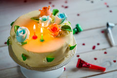 Beautiful birthday cake ready for blowing candles Royalty Free Stock Image