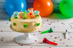 Beautiful birthday cake ready to party Stock Image