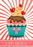 Beautiful birthday card with cupcake with cream Royalty Free Stock Images