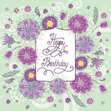 Beautiful birthday card with flowers Royalty Free Stock Photography