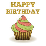 Beautiful birthday card template with golden glittering details Royalty Free Stock Photography