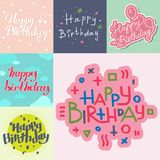 Beautiful birthday invitation card design colorful lettering poctcard  Royalty Free Stock Image