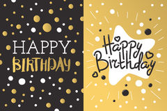 Beautiful birthday invitation card design gold and black colors vector greeting decoration. Stock Images