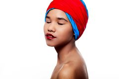 Beautiful black American woman with red lips Stock Image