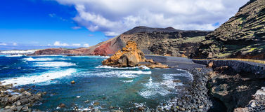 Beautiful black beaches of volcanic island Lanzarote. Canary isl Royalty Free Stock Images
